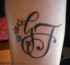 tattoo lettere stilizzate FG eseguito su disegno firmato diyartcraft.com