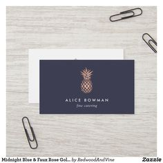 Shop Midnight Blue & Faux Rose Gold Pineapple Business Card created by RedwoodAndVine. Wedding Color Schemes, Wedding Colors, Pineapple Illustration, Gold Pineapple, Rose Gold Foil, Midnight Blue, Blue Backgrounds, Navy And White, Business Cards