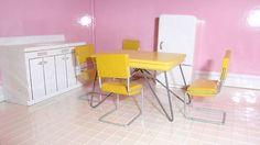 "3/4"" Strombecker dollhouse 1950s kitchen furniture: table, chairs, refrig, sink"