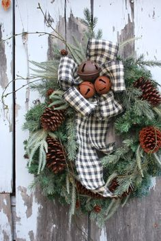 Christmas Wreath, MIxed Pine, Pine Cones, Rusty Jingle Bells, Black and White Plaid Burlap.