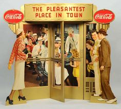 Coca-Cola trompe-l'oeil window display, 1937, 47 x 51 inches, among the rarest of all Coke advertising items, est. $15,000-$20,000.