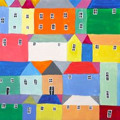 little village #1 painting by elizabeth barnett