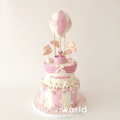 Torta mongolfiera rosa e gufetta Pink Hot air balloon and baby owl