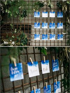 royal blue watercolor escort cards @weddingchicks