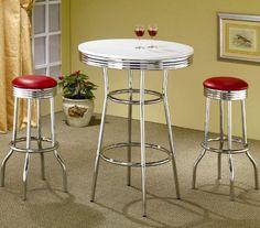 3pcs Retro Style Red & Chrome Bar Table & 2 Stools Set Coaster Home Furnishings http://www.amazon.com/dp/B001LV2Q7C/ref=cm_sw_r_pi_dp_NGN1tb1APDJ1V533