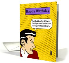 Retro pop art birthday card for the drinker card