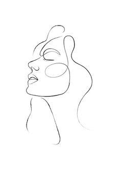 One Line Continuous Woman's Face by DaisyArtDecor | Redbubble