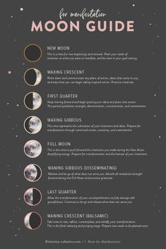 Quick Reference Moon Guide for Manifestation. Learn how to jump start your intuition and inner-alignment by working with the Moon Phases. We're in the October Waning Moon phase, and this is the perfect time for integration and reflection. Wiccan Spells, Magick, Green Witchcraft, Types Of Witchcraft, Jar Spells, Magic Spells, Magia Elemental, New Moon Rituals, Full Moon Ritual