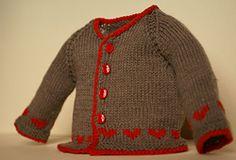 beec8cecc Jersey austriaco de bebé de lana gris con borde rojo hecho a mano   babyfashion  modabebe  hechoamano  handmade