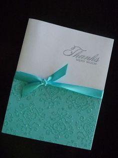 Beautiful Custom Thank You Notes :  wedding custom damask glitter handmade thank you note