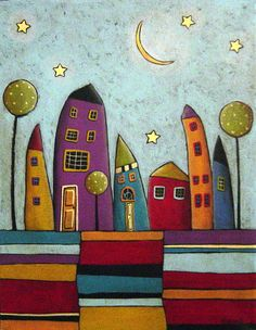 Stripes and Houses Folk Art Karla Gerard by KarlaGerardFolkArt. , via Etsy. This image could be used as a sample for a mixed media project. Patterns in foreground, cityscape in middle ground.