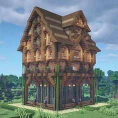 Minecraft Wooden House, Casa Medieval Minecraft, Minecraft Farm, Minecraft Cottage, Cute Minecraft Houses, Minecraft Plans, Minecraft House Designs, Minecraft Survival, Minecraft Construction