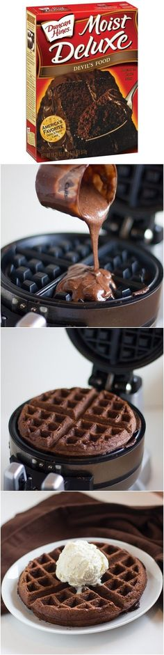I MUST go buy a waffle maker! Cake Mix Waffles Mix, Cook in Waffle Iron. Top with Ice Cream, use for Strawberry Shortcake, -Great idea for Birthday Waffles! A treat for breakfast or snack. Could use cake mix and tint colors for themes. Just Desserts, Dessert Recipes, Crepe Recipes, Dessert Ideas, Drink Recipes, Breakfast Desayunos, Birthday Breakfast, Breakfast Ideas, Brunch Ideas