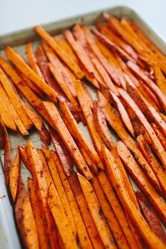 Let your sweet potatoes, or yams, soak in cold water for at least 10 minutes before seasoning them for baking. This will draw out the milky starch from the potatoes and allow for a crispier fry in the end! | How To Make Sweet Potato Fries In The Oven! With sweet Sriracha fry sauce, too!