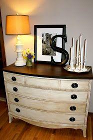 Dresser Redo: Dark Stained Top & White Painted Drawers