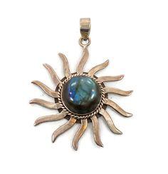 Labradorite Sun Sterling Silver Pendant  Big by InVintageHeaven, $95.00