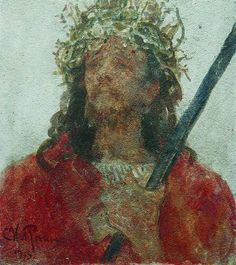 Jesus in a crown of thorns, 1913 by Ilya Repin. Realism. religious painting. Private Collection