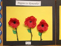 The original blog has been removed but they look like crumpled tissue paper to me Fall Crafts For Kids, Art For Kids, Halloween Crafts, Holiday Crafts, Remembrance Day Art, Poppy Craft, Armistice Day, Kindergarten Art, Preschool