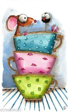 bellasecretgarden:(via Original watercolor Folk Art whimsical illustration mouse bird crow tea cup gold)