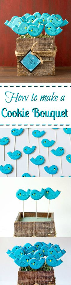 How to make a simple cookie bouquet via www.thebearfootbaker.com