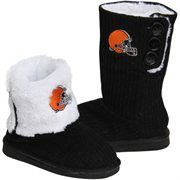 Cleveland Browns Ladies Knit High End Button Boot Slippers - Black