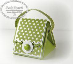 "My little craft blog: Video: Mini Purse Treat Box  9"" x 9"" card stock Scored at 3"" & 6""  7 - 2-3/4"" x 2-3/4"" Whisper White card stock 7 - 2-5/8"" x 2-5/8"" Polka Dot Parade DSP"