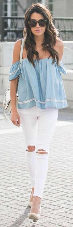 CHAMBRAY OFF-THE-SHOULDER TOP | WHITE DENIM | TASSEL CROSSBODY BAG | SUEDE BLOCK HEELS || 3 Style Essentials Everyone Will Be Wearing This Spring || Hello Fashion #chambray