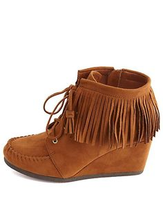 Lace-Up Fringe Moccasin Wedge Booties #CharlotteRusse #CRfashionista #booties