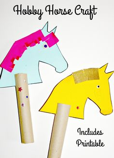 Messy little monster: hobby horse craft (free printable) for kids.