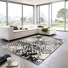 Verona 163 000 Abstract Rug By Golze With Impressive Fluffy & Tufted Built Quality, Verona 163 000 Abstract Rug is made using Polyester Yarn. Polyester Rugs, Black Rug, Modern Rugs, Handmade Rugs, Verona, Contemporary Design, The Good Place, Indoor, Colours