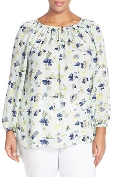 Vince Camuto 'Wistful Petals' Peasant Blouse (Plus Size) available at #Nordstrom