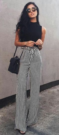 #spring #outfits  Black Tank & Striped Wide Pants