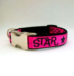 Pink Rock Star Dog Collar with Metal Buckle Width by MuttsnBones, $16 ...