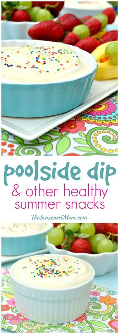 Protein, calcium, and vitamin C make this easy, 5-minute Poolside Fruit Dip a healthy snack or dessert option! PLUS a list of other HEALTHY SNACKS FOR KIDS!