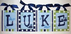 Nautical Blue Green custom 8x10 canvas letter by Sweetartandparty, $13.50