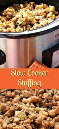 Slow cooker stuffing is a great idea because there just isn't enough room in the oven for stuffing and a turkey. That is, if you do not like to stuff your turkey.You know how it is when there is not room in your oven for one more thing - this slow cooker stuffing recipe helps solve that problem! Make this stuffing the night before and then place it in the crock pot 3-4 hours before you want to serve it! If you want it a little crunchier, place it in the oven on broil for 2-3 minutes.