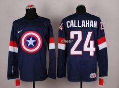 NHL #24 callahan blue Captain America Fashion Jerseys