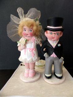 Custom Cake Topper Vintage Wedding Bride and Groom, via Etsy.