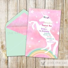 FREE printable unicorn invitations