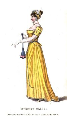 La Belle Assemblee, Evening Dress, February 1812.  Very cool sleeves and what an unusual reticule!
