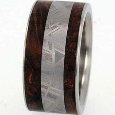 Meteorite & Black Ash Burl Wood Inlay Titanium Wedding Ring