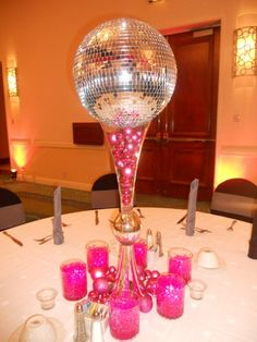 Holiday Party at The Boca Renaissance Hotel Disco theme with a Holiday Flair Decor by DM Events & Design www. Disco Theme Parties, Disco Party Decorations, Party Centerpieces, Birthday Decorations, Decade Party, Disco Night, 70th Birthday Parties, 30th Party, Retro Party