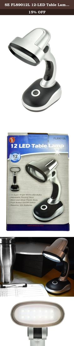 """SE FL89012L 12-LED Table Lamp with Adjustable Pivoting Neck, Black/Silver. This 12-LED Table Lamp is designed to be used at home, at work, at school, while camping, outdoors, and so much more. Features of this product include: • Compact & lightweight for easy transport • Overall extended height: 8"""" (can fold down to 6"""") • 12 Super bright white LED bulbs • Long-lasting LEDs for up to 100,000 hours • On/off push button on the base • Vertically adjustable neck for various lighting angles •..."""