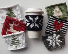 Crochet Pattern winter coffee cosy LakesideLoops