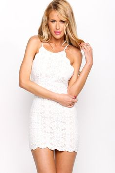 """""""Young Love"""" Meryl Flower Crochet Dress (2 colors available)"""