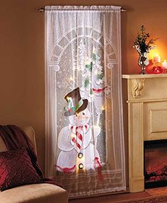Decorative LED Lighted Christmas Snowman Lace Window Sheer Curtain Panel Holiday Home Accent Decor ** Learn more @