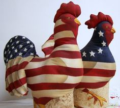 Vintage Americana Hen and Rooster