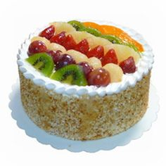 Sponge Cake with Mixed Fruits Garnishing