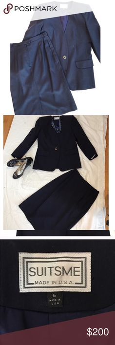 """Gorgeous real Vintage Skirt & Blazer Set Real vintage gorgeous navy blue suit jacket and skirt set. In absolutely flawless condition. No signs of any wear at all, practically new. Just had the set dry cleaned and they will come, still in the plastic wrapping and the hangers from the dry cleaner. Jacket has one button in the front and is complete with shoulder pads. The skirt zips in the back and is then secure with one button. Size 6. Skirt waist is 14"""" in diameter 28"""" total. 26"""" long…"""