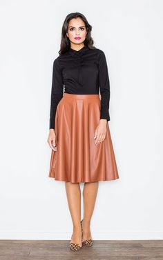 Brown Flared Leather Skirt